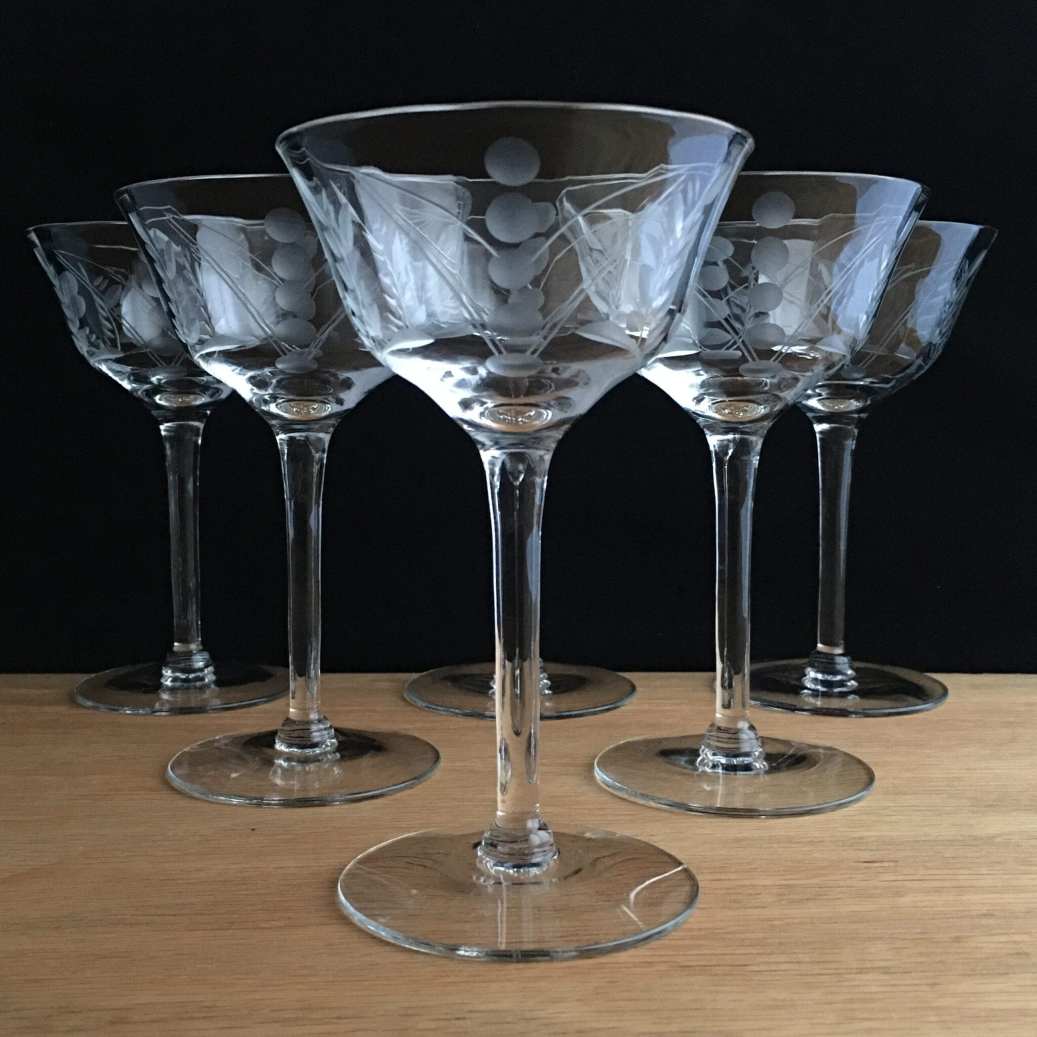 Art Deco Vintage Crystal Coupe Glasses Raising The Bar